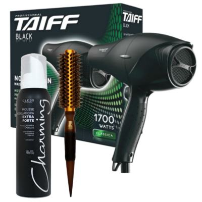 Kit Secador Taiff Black 1700W 110V + Escova Térmica Marco Boni + Mousse Modelador Charming