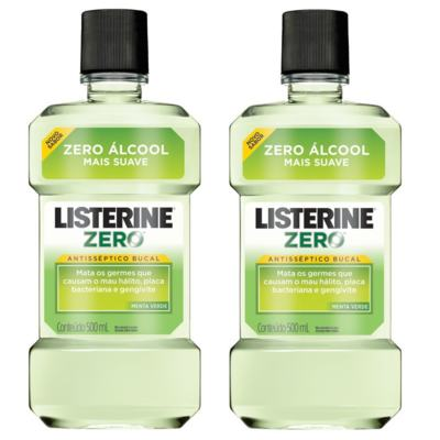 Antisséptico Bucal Listerine Zero Menta Verde 500ml 2 Unidades