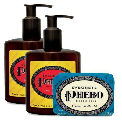 Sabonete Líquido Phebo Odor de Rosas 250ml 2 Unidades + Sabonete Phebo Frescor da Manhã 90g