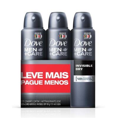Imagem 1 do produto Kit Desodorante Aerosol Dove Invisible Dry Men 89m 3 Unidades