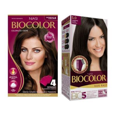 Tintura Biocolor 5.0 Castanho Claro + Tintura Biocolor S.O.S Raiz Castanho Claro 5.0