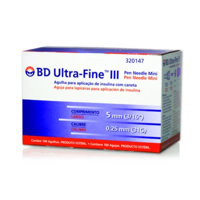 Imagem 1 do produto Agulha Insulina BD Ultra-Fine 5mm 100 Unidades