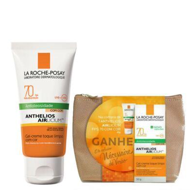 Kit Protetor Solar Facial La Roche-Posay Anthelios Airlicium Com Cor FPS 70 50g + Necessaire Verão