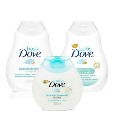 Imagem 1 do produto Condicionador e Shampoo Dove Baby Hidratação Sensível 200ml + Colônia Dove Baby Hidratação Enriquecida 100ml