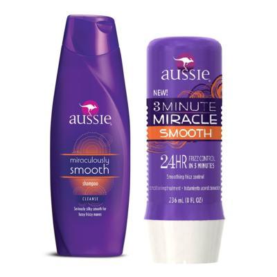 Aussie Smooth Shampoo 400ml + Aussie Smooth Tratamento Capilar 3 Minutos Milagrosos 236ml