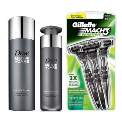 Kit Dove Men Creme De Barbear + Pós Barba + Aparelho De Barbear Gillette Sensitive 3 Unidades