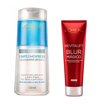 Demaquilante Bifásico L'Oréal + Creme Facial Loreal Revitalift Blur