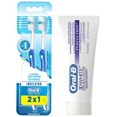 Imagem 9 do produto Kit Oral-B 2 Escovas Indicator 30 Plus + Creme Dental 3D White Perfect 75g