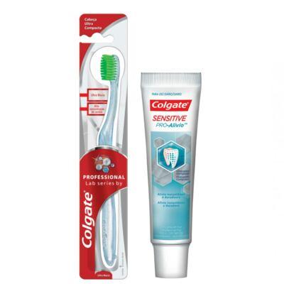 Imagem 11 do produto Kit Colgate Escova Dental Professional Lab Séries + Creme Dental Sensitive Pró-Alívio 50g