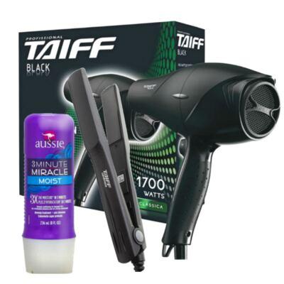 Imagem 1 do produto Kit Secador Taiff Black 1700W + Chapinha Taiff Cerâmica Bivolt + Aussie Moist Tratamento 3 Minutos