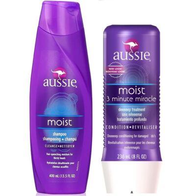 Imagem 3 do produto Aussie Moist Shampoo 400ml + Aussie Moist Tratamento Capilar 3 Minutos Milagrosos 236ml