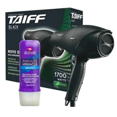 Imagem 2 do produto Kit Secador Taiff Black 1700W + Aussie Moist Tratamento Capilar 3 Minutos 236ml
