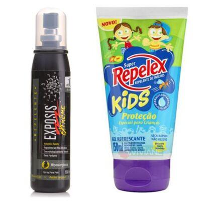 Repelente Exposis Extreme 100ml + Repelente Replex Kids 133ml