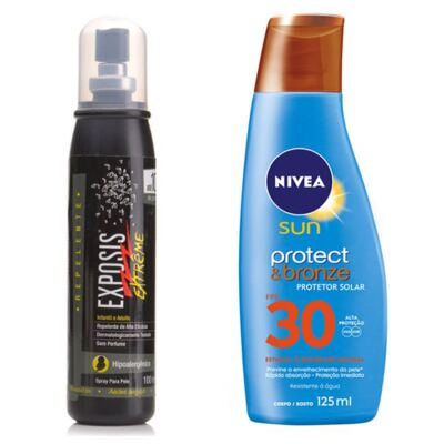 Imagem 1 do produto Repelente Exposis Extreme 100ml + Protetor Solar Nivea Sun Protect & Bronze FPS 30 200ml
