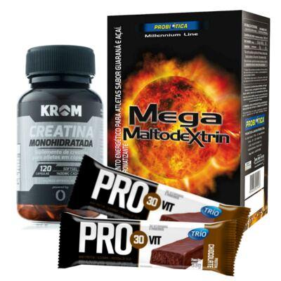 Imagem 1 do produto Kit Creatina Monohidratada 120 Cápsulas + Mega Maltodextrin Guaraná e Açaí 1kg + Barra Trio Pro 30 Vit Chocolate 33g