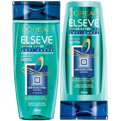 Imagem 1 do produto Kit Elseve Hydra Detox 48h Anti-Caspa Shampoo + Condicionador 200ml