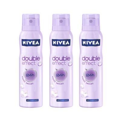 Desodorante Aerosol Nivea Feminino Double Effect 150ml 3 Unidades