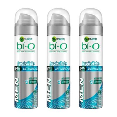 Kit Desodorante Bio-O Aerosol Invisible Masculino 150ml 3 Unidades