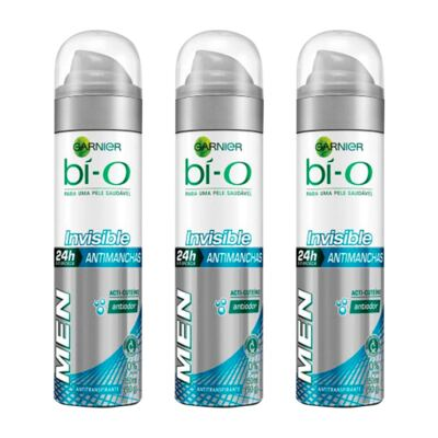 Imagem 1 do produto Kit Desodorante Bio-O Aerosol Invisible Masculino 150ml 3 Unidades