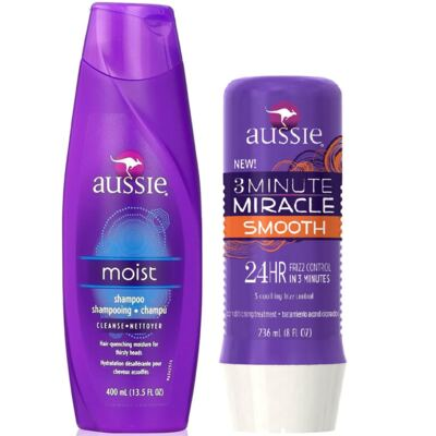 Aussie Moist Shampoo 400ml + Aussie Smooth Tratamento Capilar 3 Minutos Milagrosos 236ml