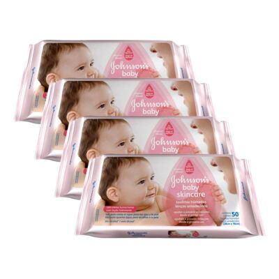 Imagem 1 do produto Kit 4 Lenços Umedecido Johnson´s Baby Skin Care 192 Unidades