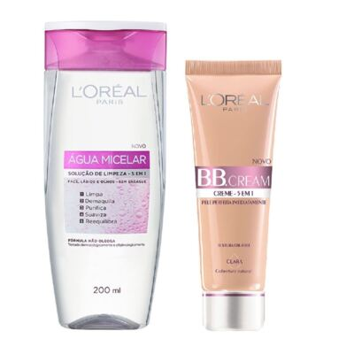 Imagem 2 do produto Loreal Água Tônico Micelar 200ml + Base L'Oréal BB Cream 5 em 1 Clara FPS 20 50ml