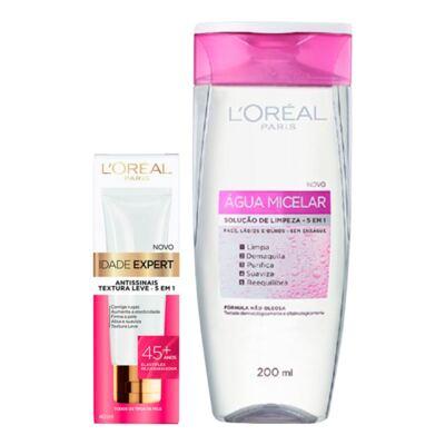 Imagem 2 do produto Kit L'Oréal Água Micelar 200ml + Creme Antissinais Idade Expert 45+ 40ml