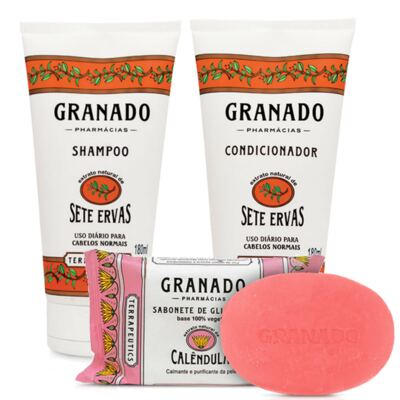 Imagem 1 do produto Kit Granado Shampoo + Condicionador Sete Ervas 180ml + Sabonete Glicerinado 90g