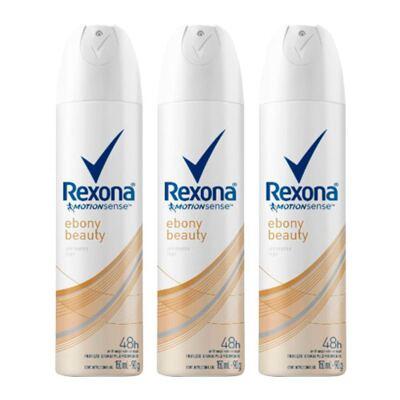 Kit Desodorante Aerosol Rexona Feminino Ebony Beauty 90g 3 Unidades