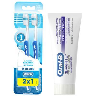 Kit Oral-B 2 Escovas Indicator 35 Plus + Creme Dental 3D White Perfect 75g