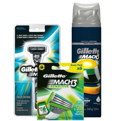 Kit Gillette Aparelho Barbeador Mach3 + Espuma de Barbear Mach3 Sensitive 245g + Carga Mach3 Sensitive 6 Unidades