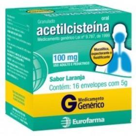 Acetilcisteína Genérico Eurofarma - 100mg | 5g | 16 unidades