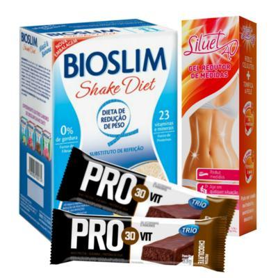 Kit Gel Redutor Siluet 40 200ml + Bioslim Shake Diet Maça e Banana 400g + Barra Trio Pro 30 Vit Chocolate 33g