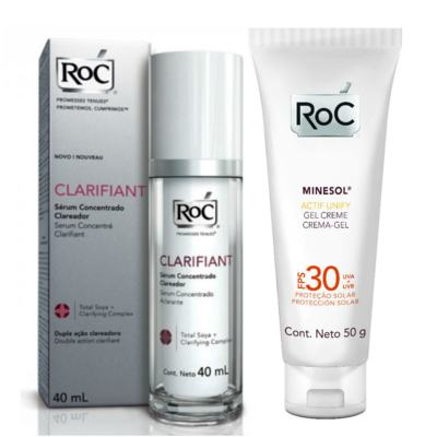 Kit Roc Clarifiant Sérum Clareador 40ml + Protetor Solar Roc Minesol Actif Unify FPS 30 50g