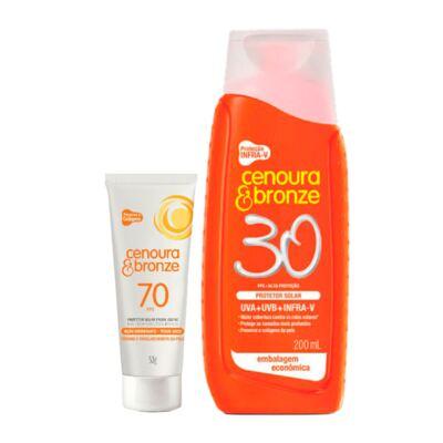 Kit Protetor Solar Cenoura & Bronze FPS 30 200ml + Protetor Facial FPS 70 50g