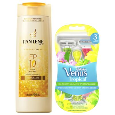 Kit Shampoo Pantene Summer Edition 400ml + Aparelho Gillette Venus Tropical 3 Unidades