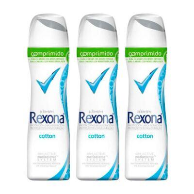 Kit Desodorante Rexona Comprimido Feminino Aerosol Cotton 54g 3 Unidades
