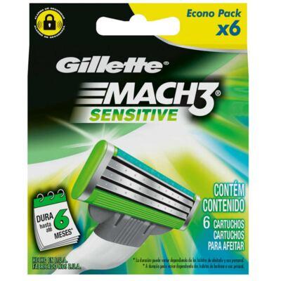 Imagem 3 do produto Kit Gillette Mach3 Aparelho Barbeador 1 Unidade + Carga Sensitive 6 Unidades