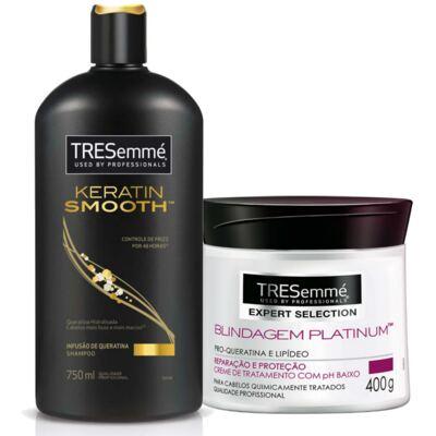 Kit Shampoo Tresemmé Keratin Smooth 750ml + Creme de Tratamento Capilar Tresemmé Blindagem Platinum 400g