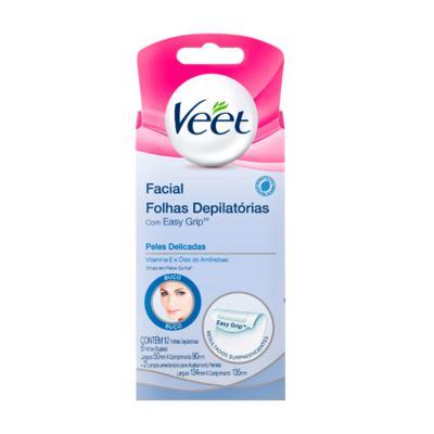 Folha Depilatória Facial Veet - Peles Delicadas | 12 unidades