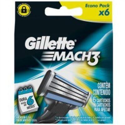 Carga para Aparelho de Barbear Gillette Mach3 Regular - 6 unidades