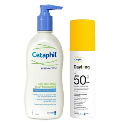Restoraderm Hidratante Cetaphil 295ml + Protetor Solar Daylong Lipossomal Cetaphil FPS 50 150ml