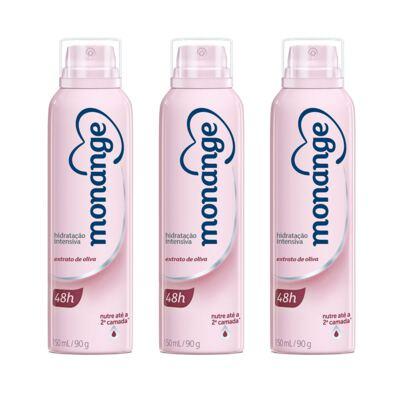 Kit Desodorante Aerosol Monange Energy Extrato De Oliva 150ml 3 Unidades