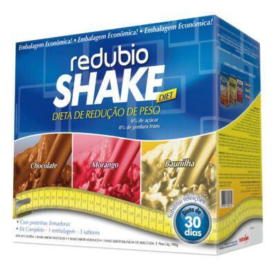 Kit Redubio Shake 3 Sabores Baunilha, Chocolate e Morango