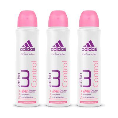 Kit Desodorante Adidas Aerosol Feminino Action 3 Control 150ml 3 Unidades