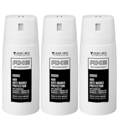 Kit Desodorante Aerosol Axe Urban Antimanchas Masculino 90g 3 Unidades