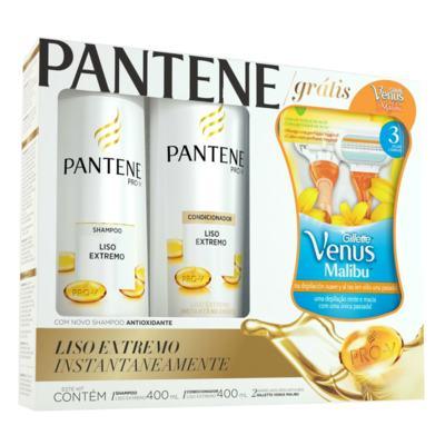 Kit Pantene Liso Extremo Shampoo + Condicionador 400ml Grátis Aparelho Gillette Venus Malibu - 2 Unidades