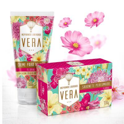 Imagem 2 do produto Kit Vera Floral 2 Sabonetes + 1 Saboneteira + 1 Creme para Mãos