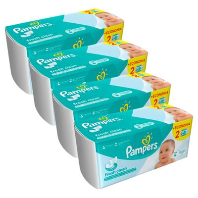 Kit Lencinhos Umedecidos Pampers Fresh Clean 384 Unidades
