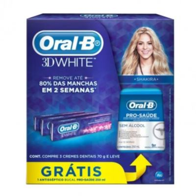 Creme Dental Oral-B 3D White 70g Grátis Antisséptico Clinical Protection